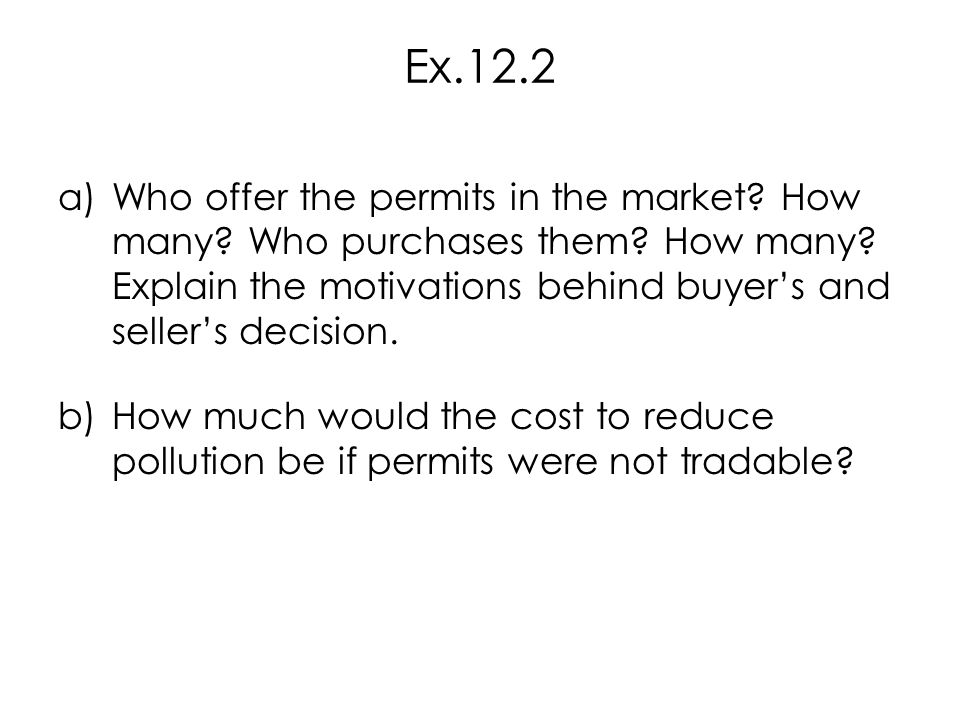 Ex.12.2 Who offer the permits in the market How many Who purchases them How many Explain the motivations behind buyer's and seller's decision.