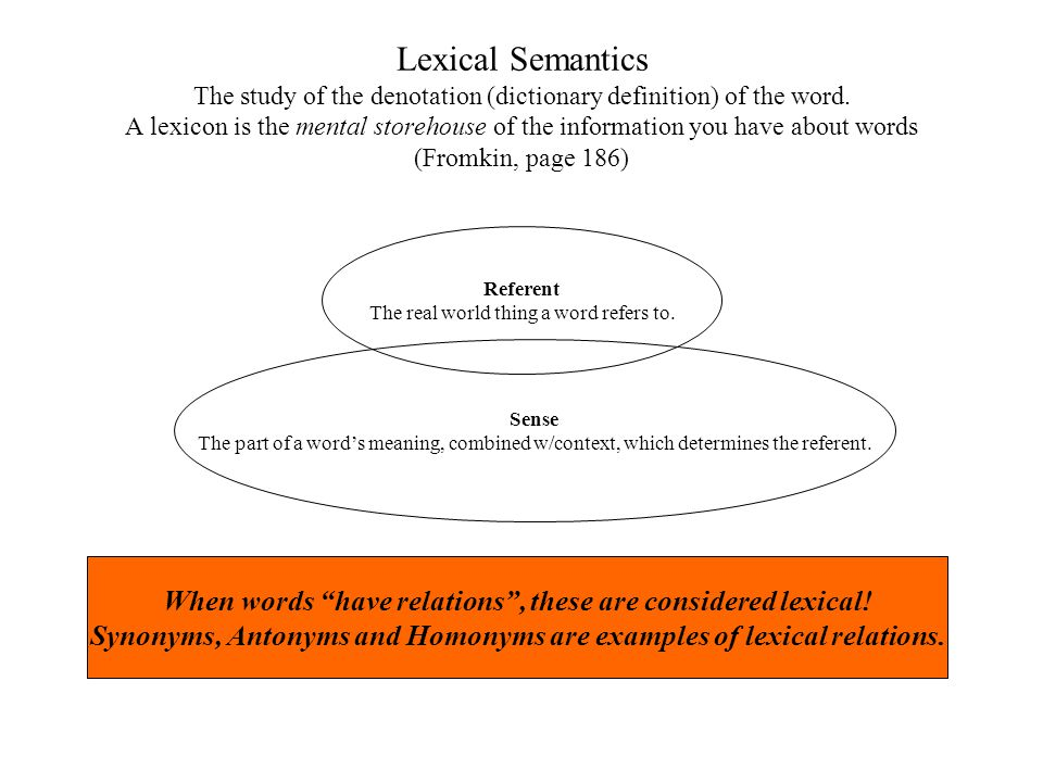 Lexical Semantics The study of the denotation (dictionary definition) of the word. A lexicon is the mental storehouse of the information you have about words (Fromkin, page 186)