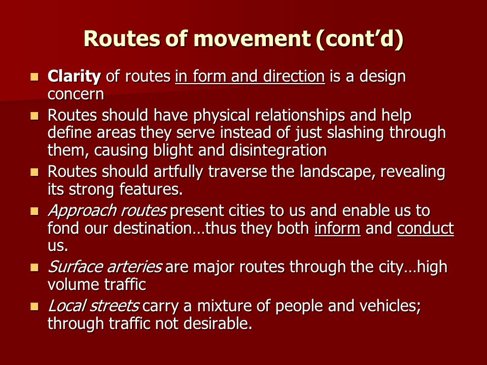 Routes of movement (cont'd)