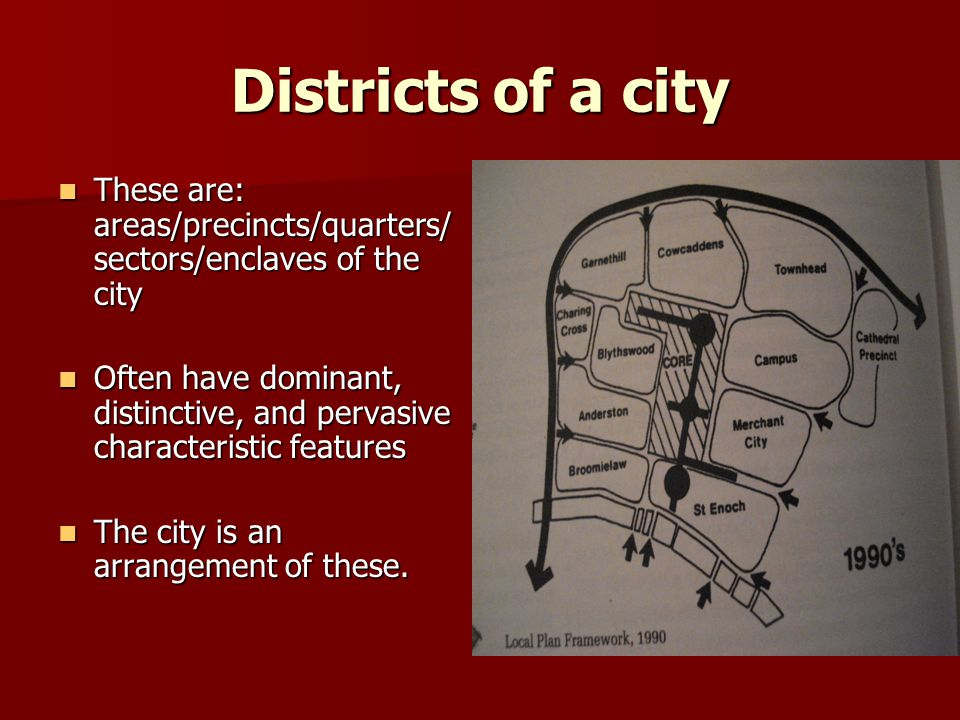 Districts of a city These are: areas/precincts/quarters/sectors/enclaves of the city.