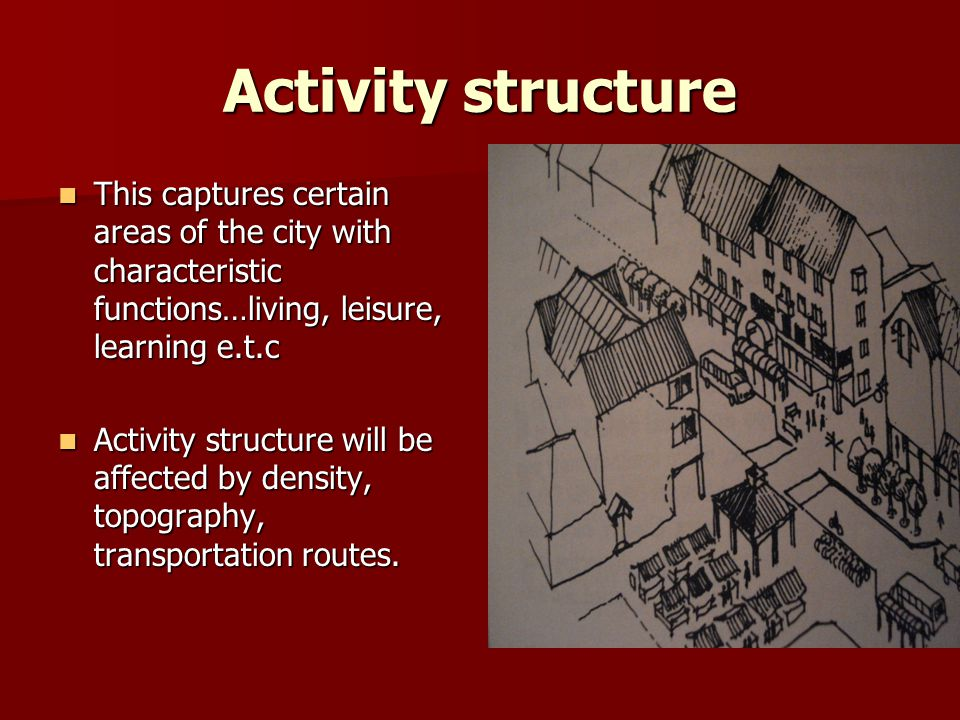 Activity structure This captures certain areas of the city with characteristic functions…living, leisure, learning e.t.c.