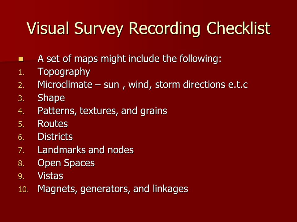 Visual Survey Recording Checklist