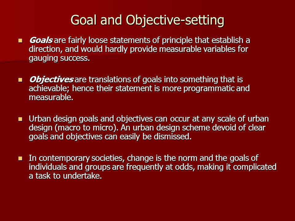 Goal and Objective-setting