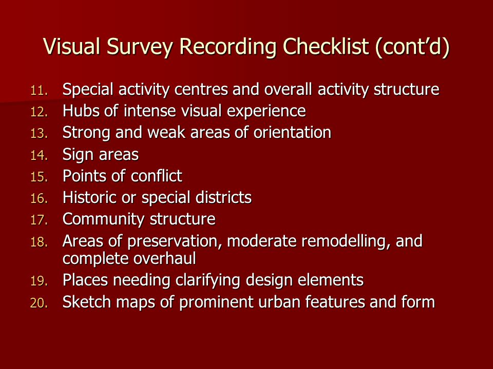 Visual Survey Recording Checklist (cont'd)