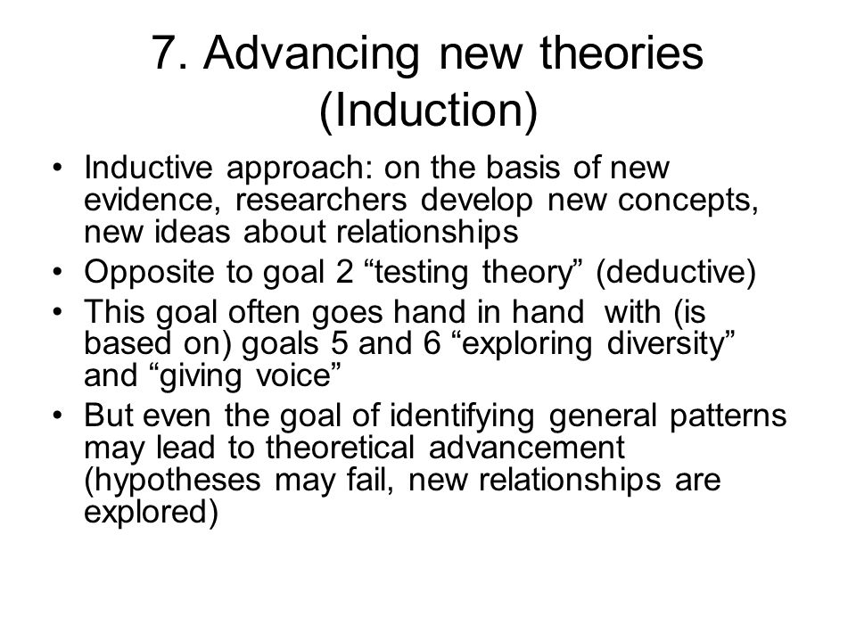7. Advancing new theories (Induction)