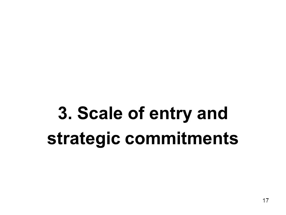 3. Scale of entry and strategic commitments