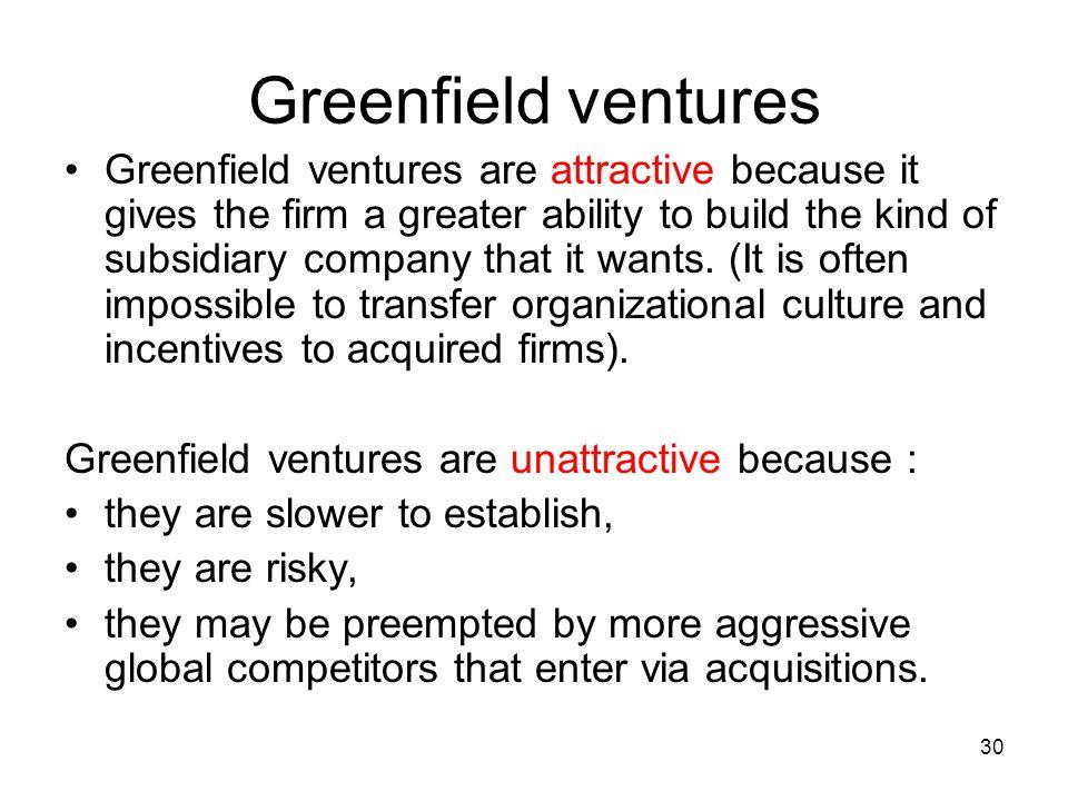 Greenfield ventures