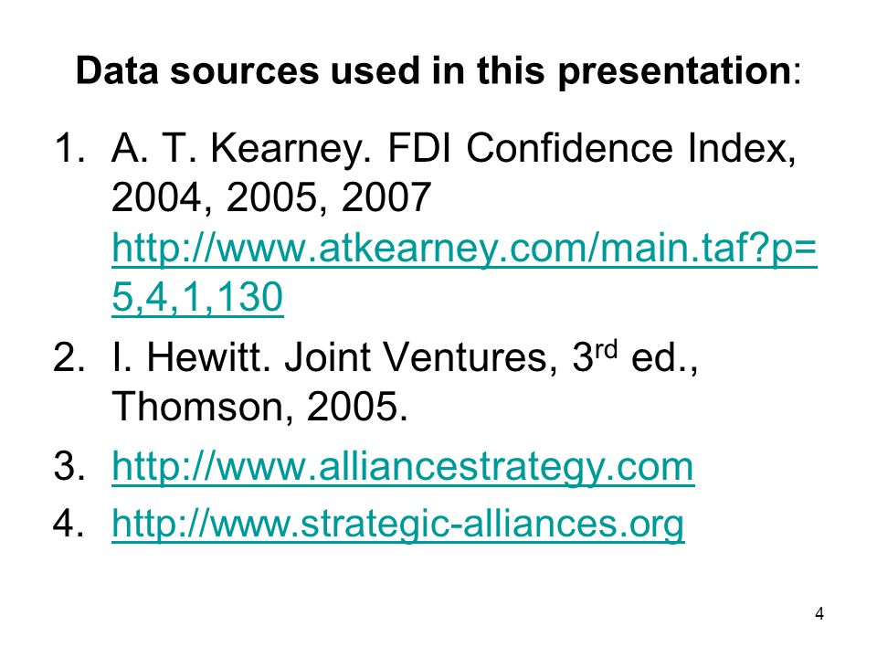 Data sources used in this presentation: