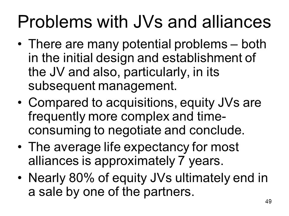 Problems with JVs and alliances