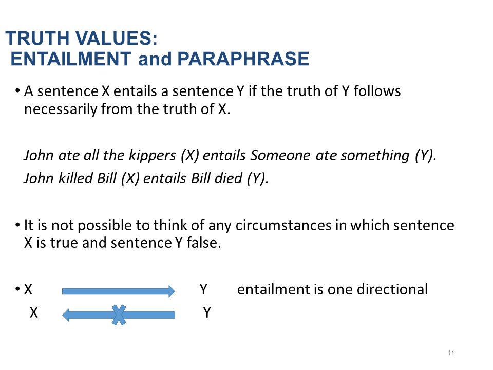 TRUTH VALUES: ENTAILMENT and PARAPHRASE