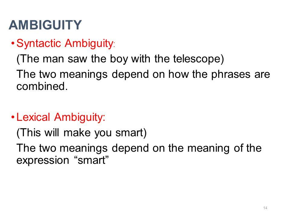 AMBIGUITY Syntactic Ambiguity: