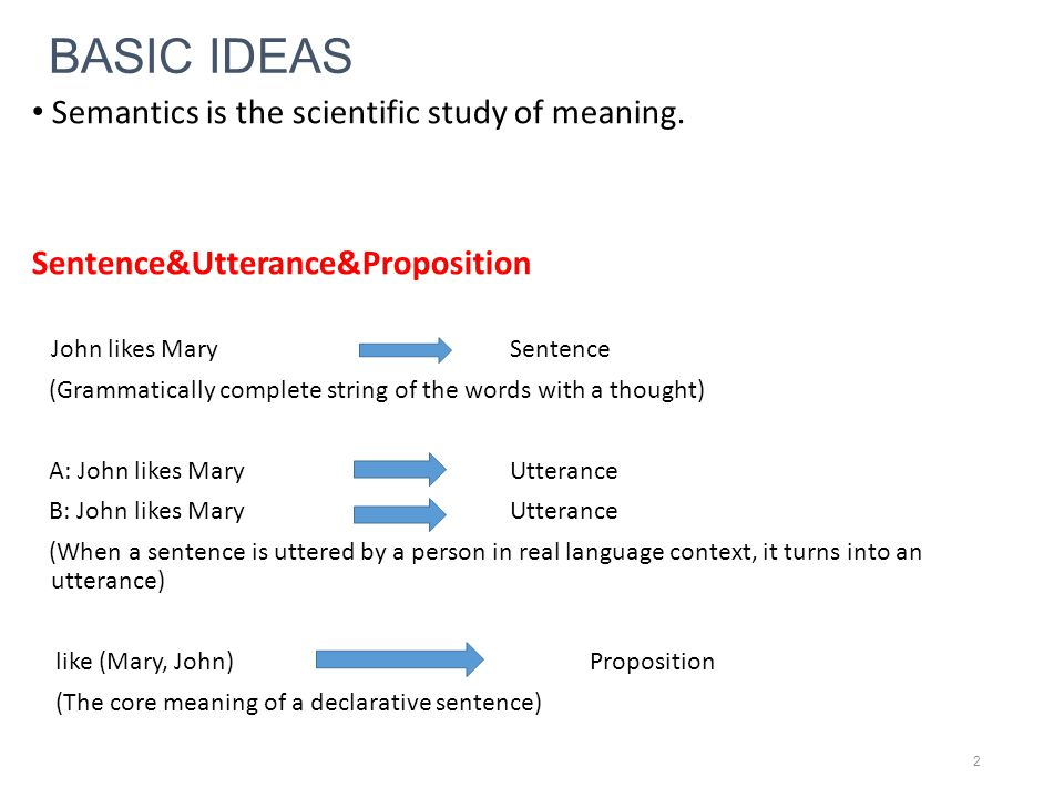 BASIC IDEAS Semantics is the scientific study of meaning.