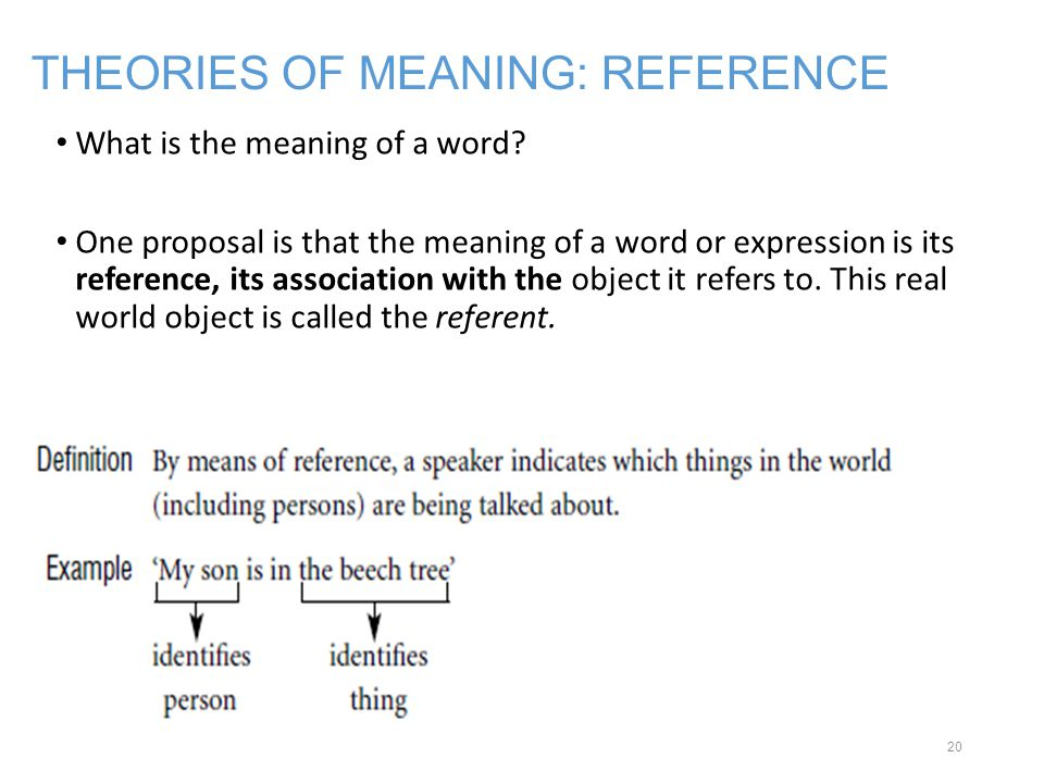 THEORIES OF MEANING: REFERENCE