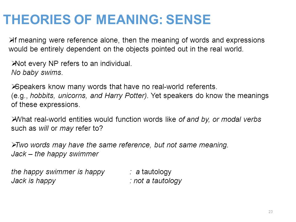 THEORIES OF MEANING: SENSE