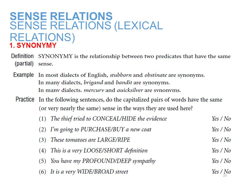 SENSE RELATIONS (LEXICAL RELATIONS)