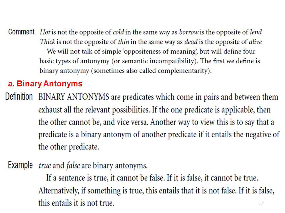 a. Binary Antonyms