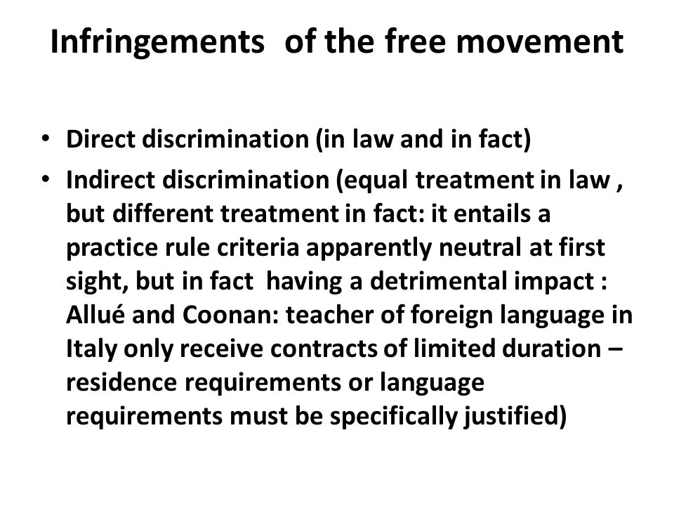 Infringements of the free movement