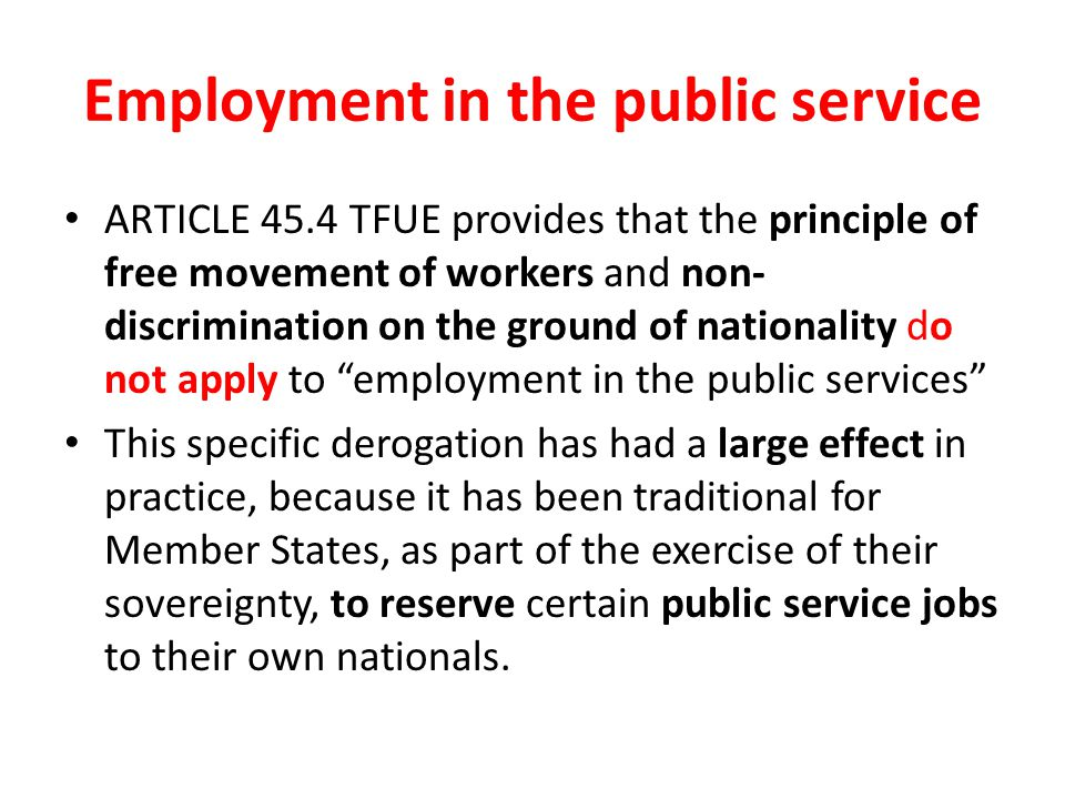 Employment in the public service
