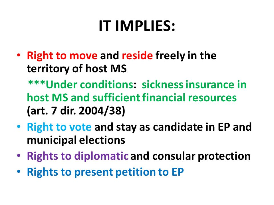 IT IMPLIES: Right to move and reside freely in the territory of host MS.