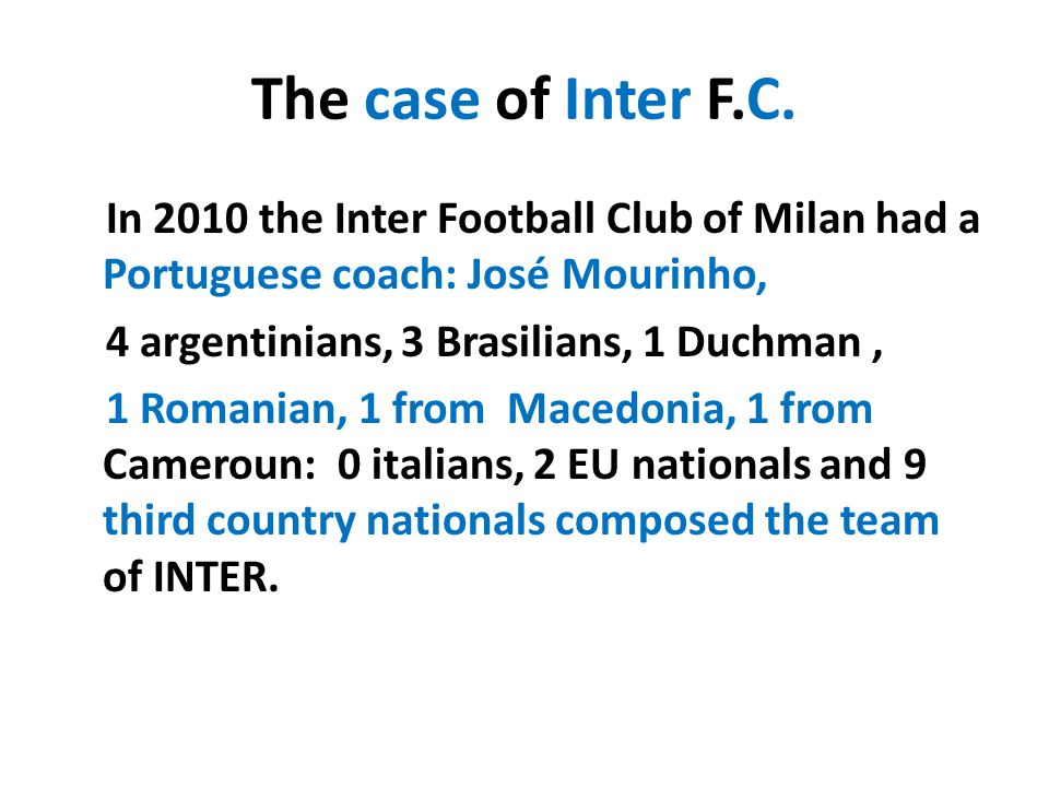 The case of Inter F.C.