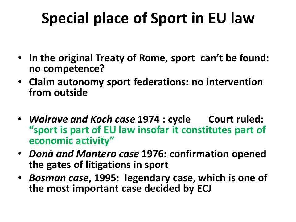 Special place of Sport in EU law