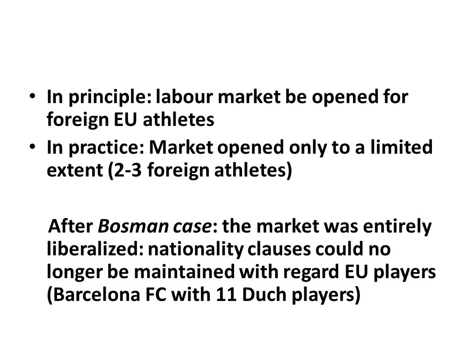 In principle: labour market be opened for foreign EU athletes