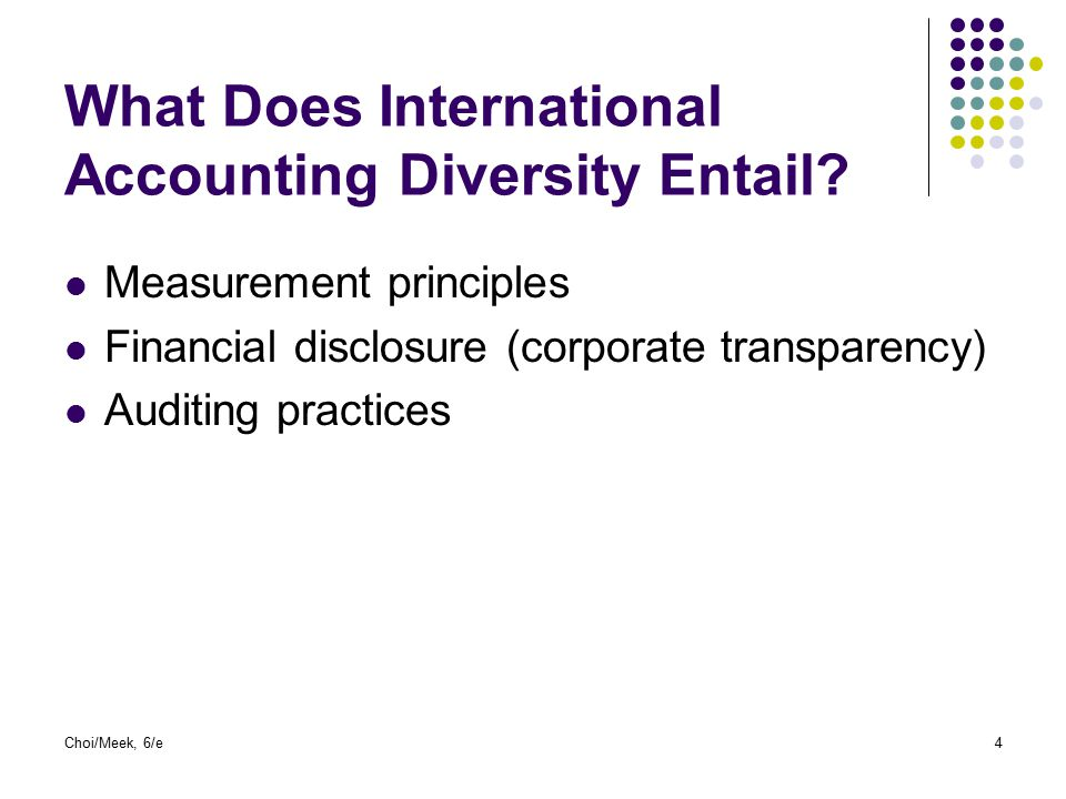What Does International Accounting Diversity Entail