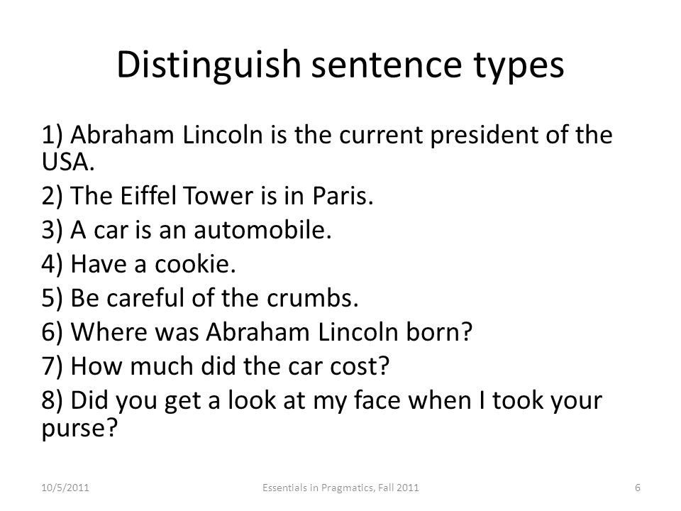 Distinguish sentence types