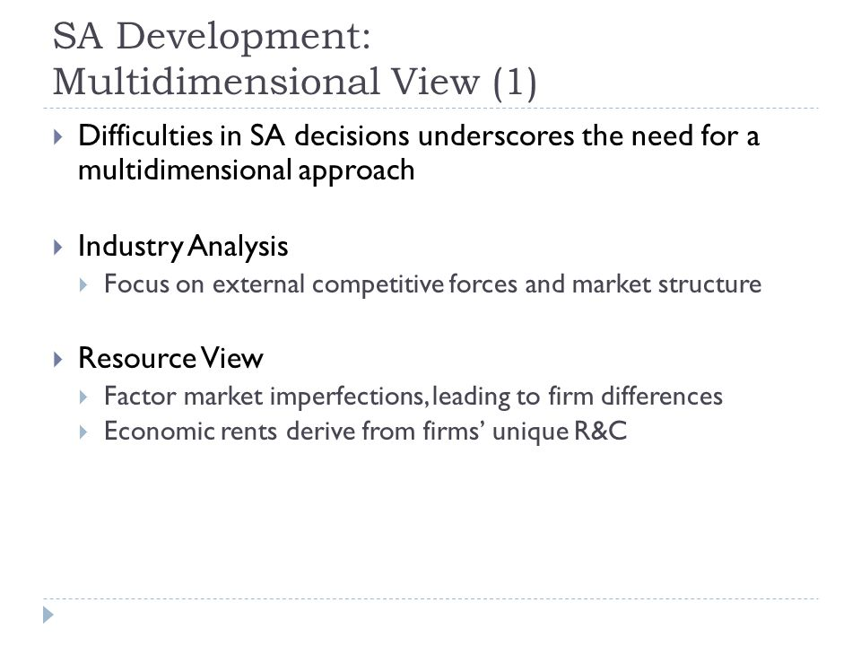 SA Development: Multidimensional View (1)