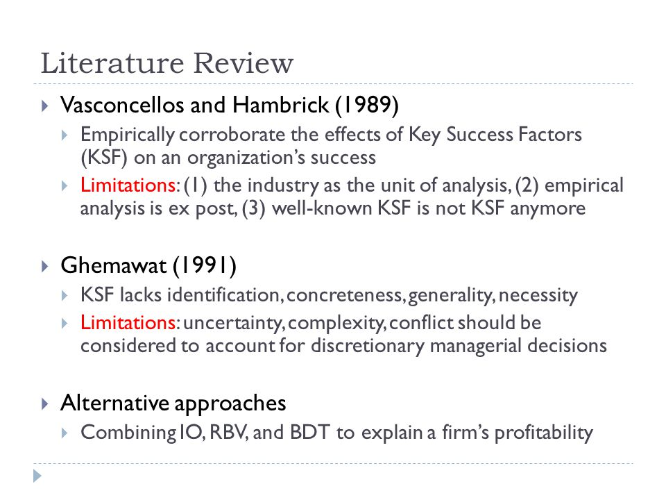 Literature Review Vasconcellos and Hambrick (1989) Ghemawat (1991)