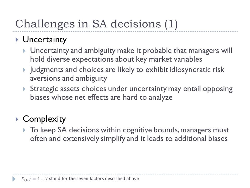 Challenges in SA decisions (1)