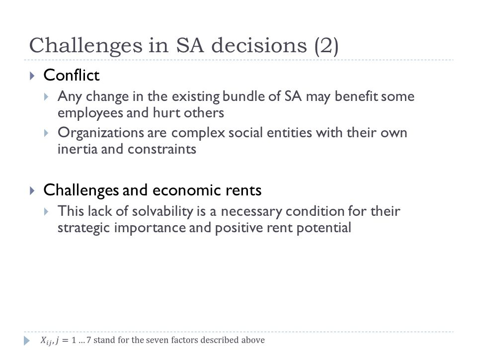Challenges in SA decisions (2)