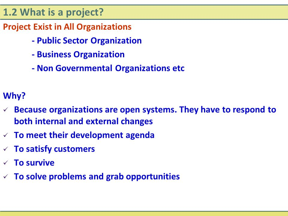 1.2 What is a project Project Exist in All Organizations