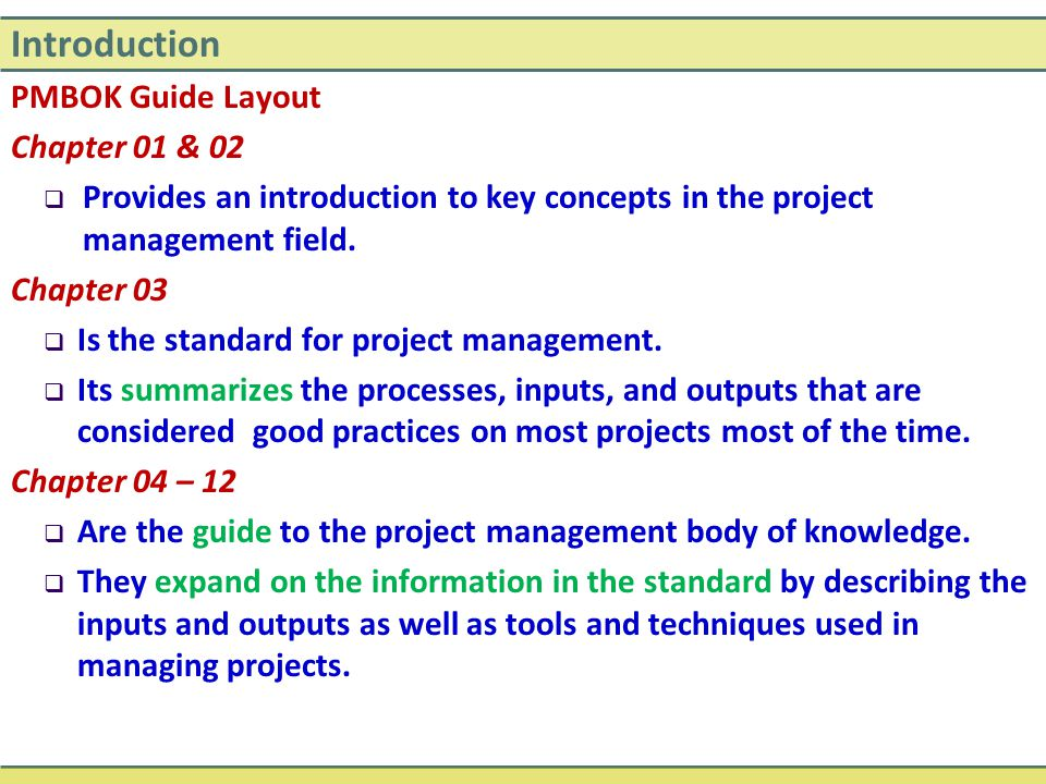 Introduction PMBOK Guide Layout Chapter 01 & 02