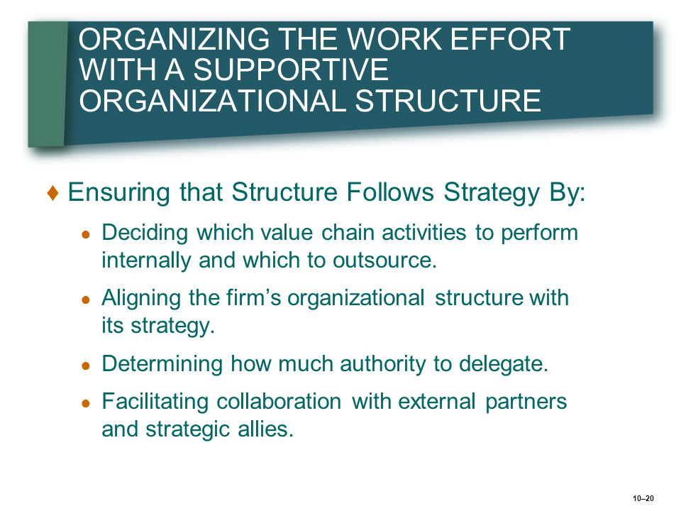 ORGANIZING THE WORK EFFORT WITH A SUPPORTIVE ORGANIZATIONAL STRUCTURE