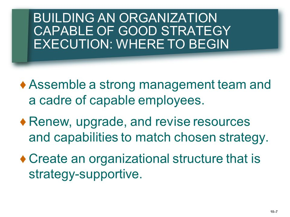 BUILDING AN ORGANIZATION CAPABLE OF GOOD STRATEGY EXECUTION: WHERE TO BEGIN