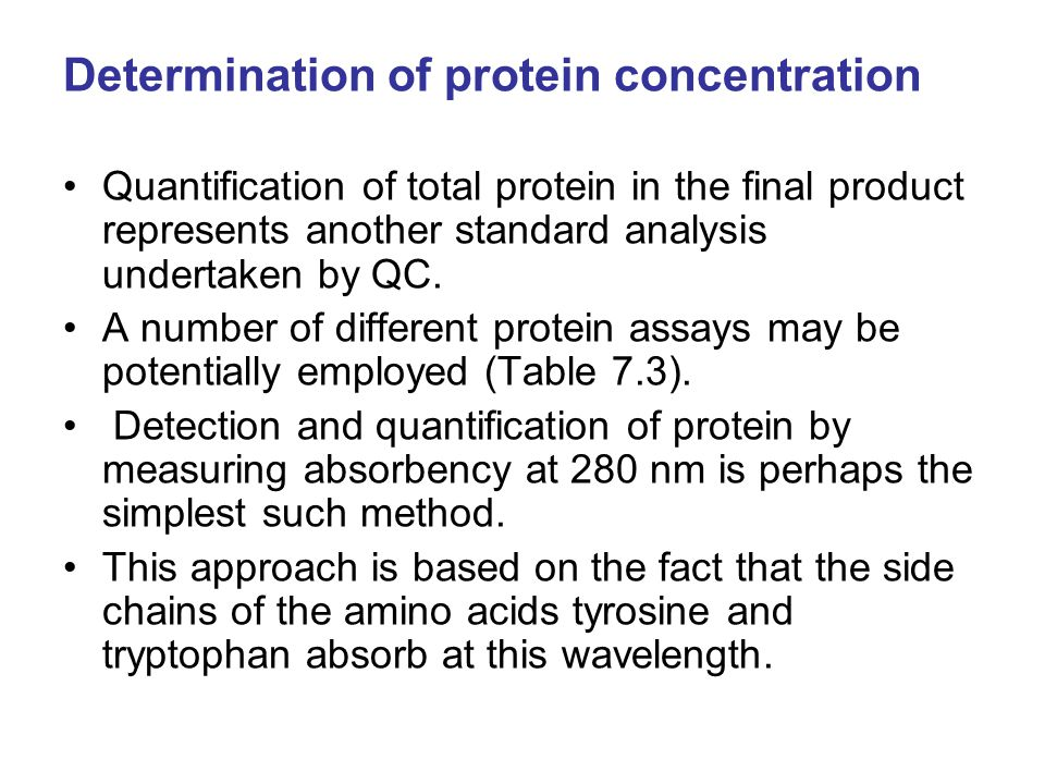 Determination of protein concentration