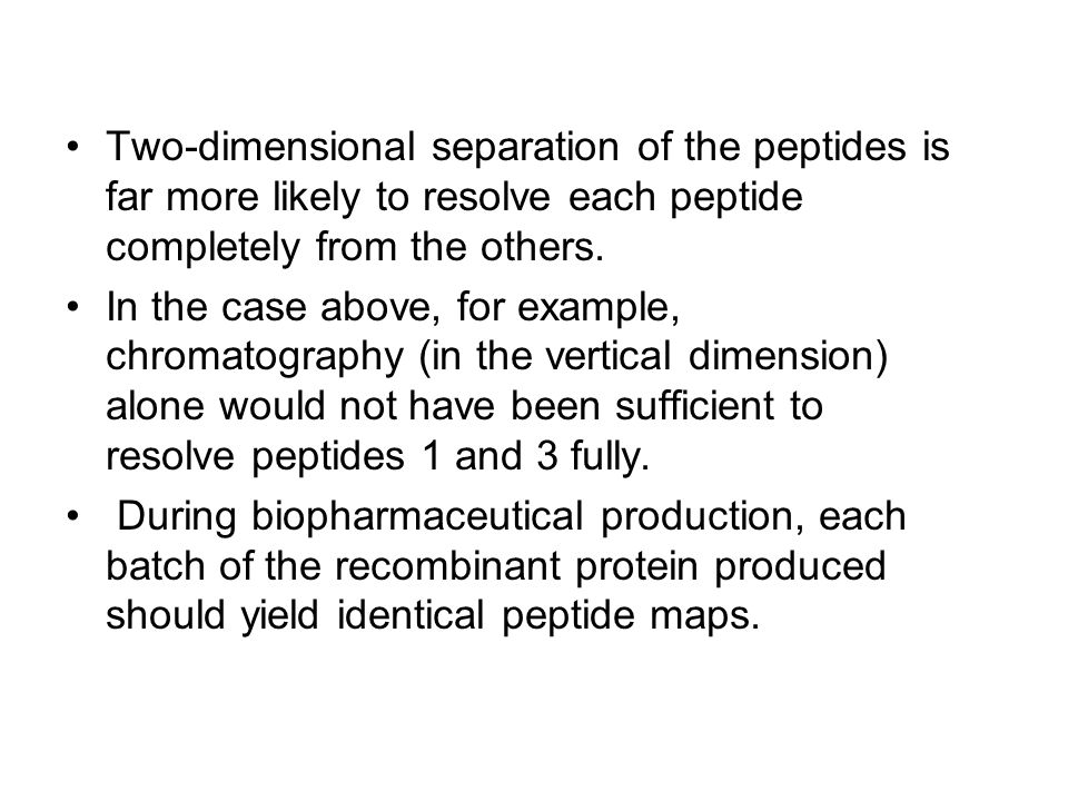 Two-dimensional separation of the peptides is far more likely to resolve each peptide completely from the others.