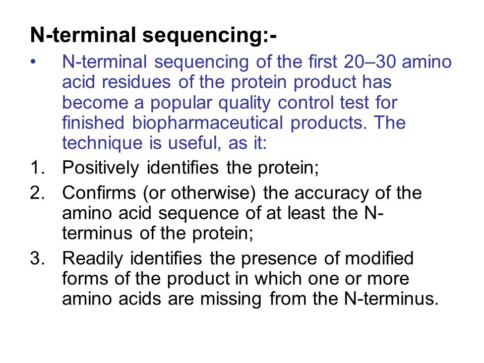 N-terminal sequencing:-