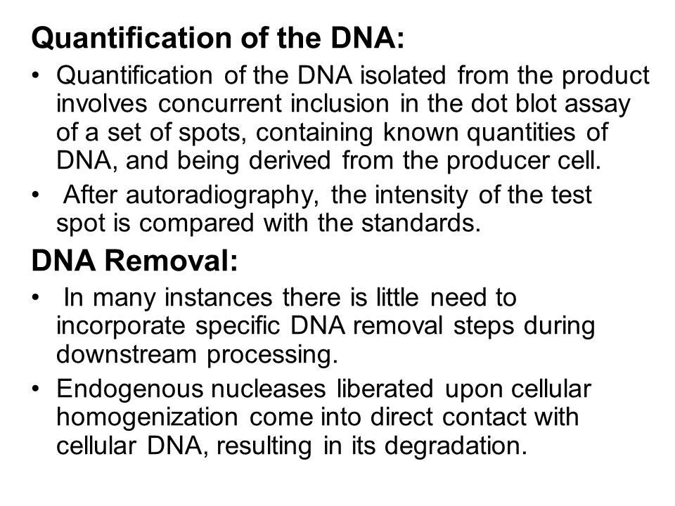 Quantification of the DNA: