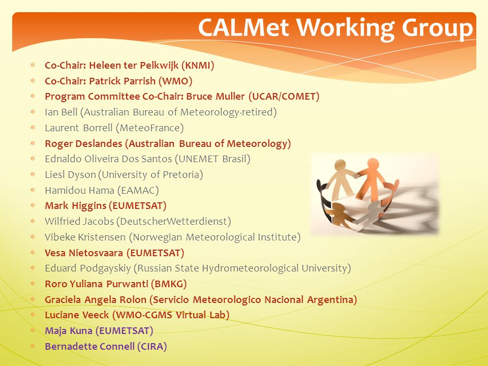 CALMet Working Group Co-Chair: Heleen ter Pelkwijk (KNMI)