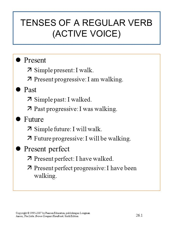 TENSES OF A REGULAR VERB (ACTIVE VOICE) continued