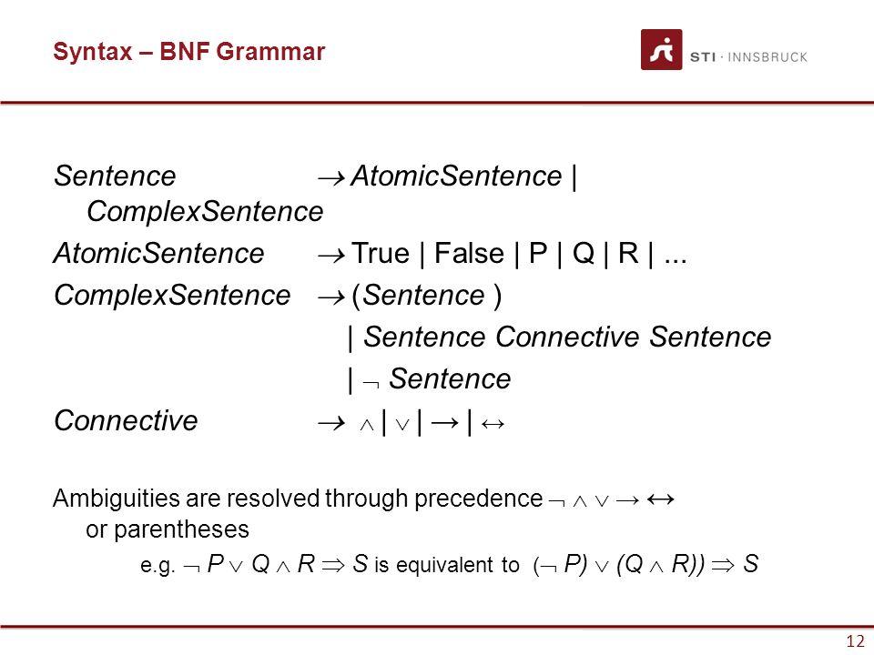 Sentence  AtomicSentence | ComplexSentence