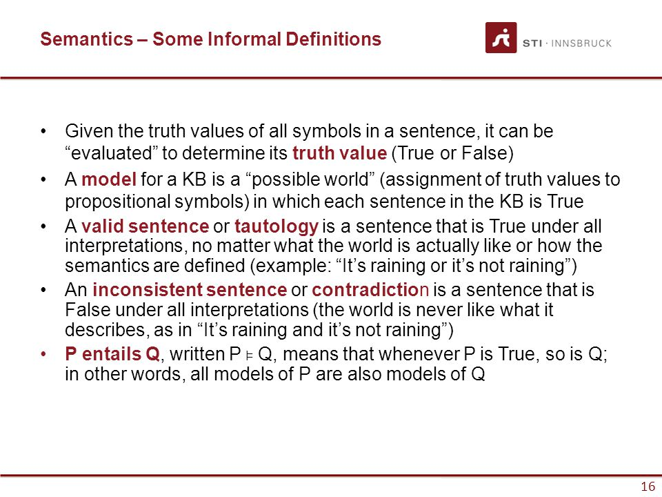 Semantics – Some Informal Definitions