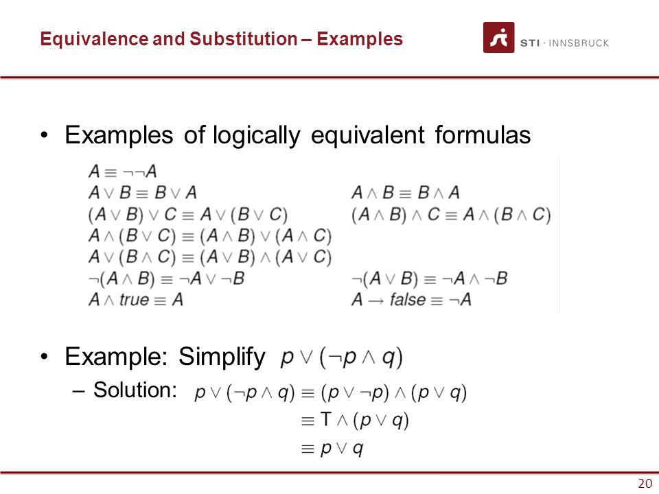 Equivalence and Substitution – Examples