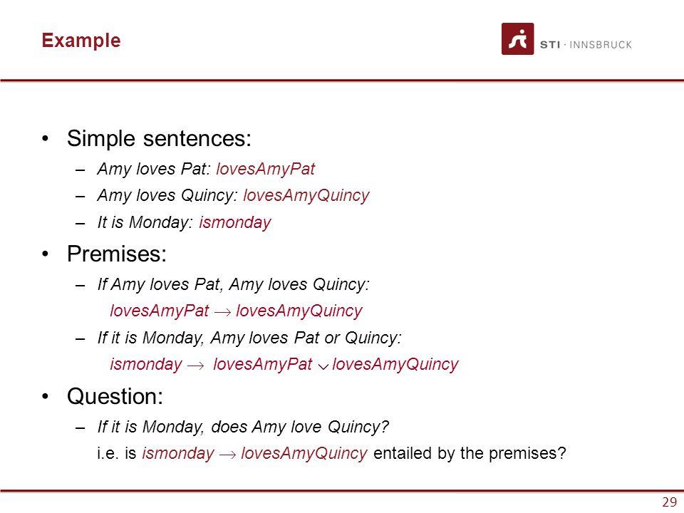 Simple sentences: Premises: Question: Example