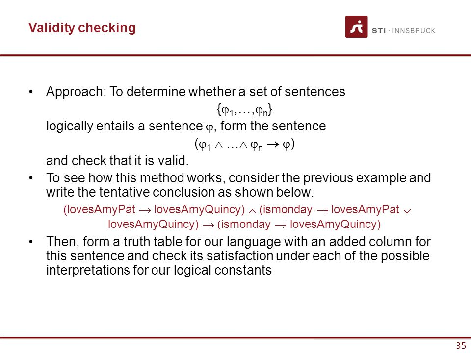 Approach: To determine whether a set of sentences {j1,…,jn}