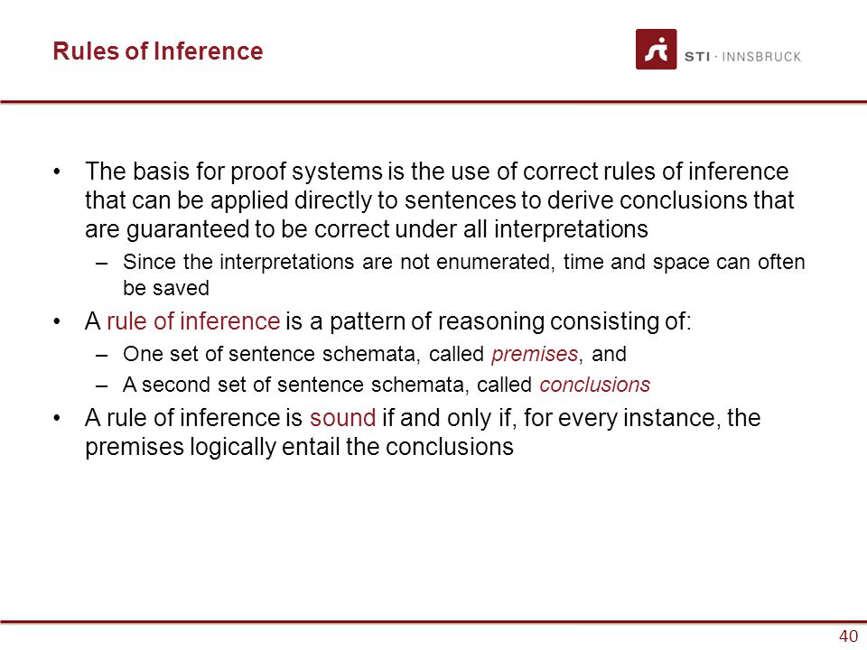 A rule of inference is a pattern of reasoning consisting of: