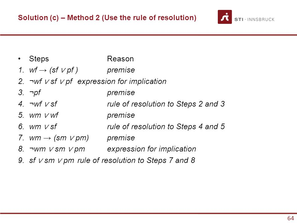 Solution (c) – Method 2 (Use the rule of resolution)