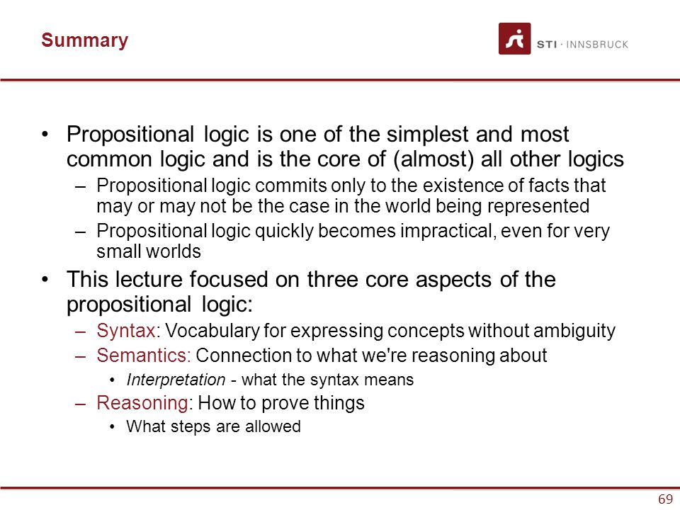 This lecture focused on three core aspects of the propositional logic: